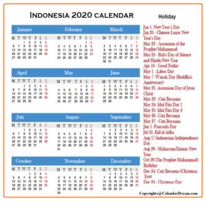 Indonesia Calendar 2020 Printable