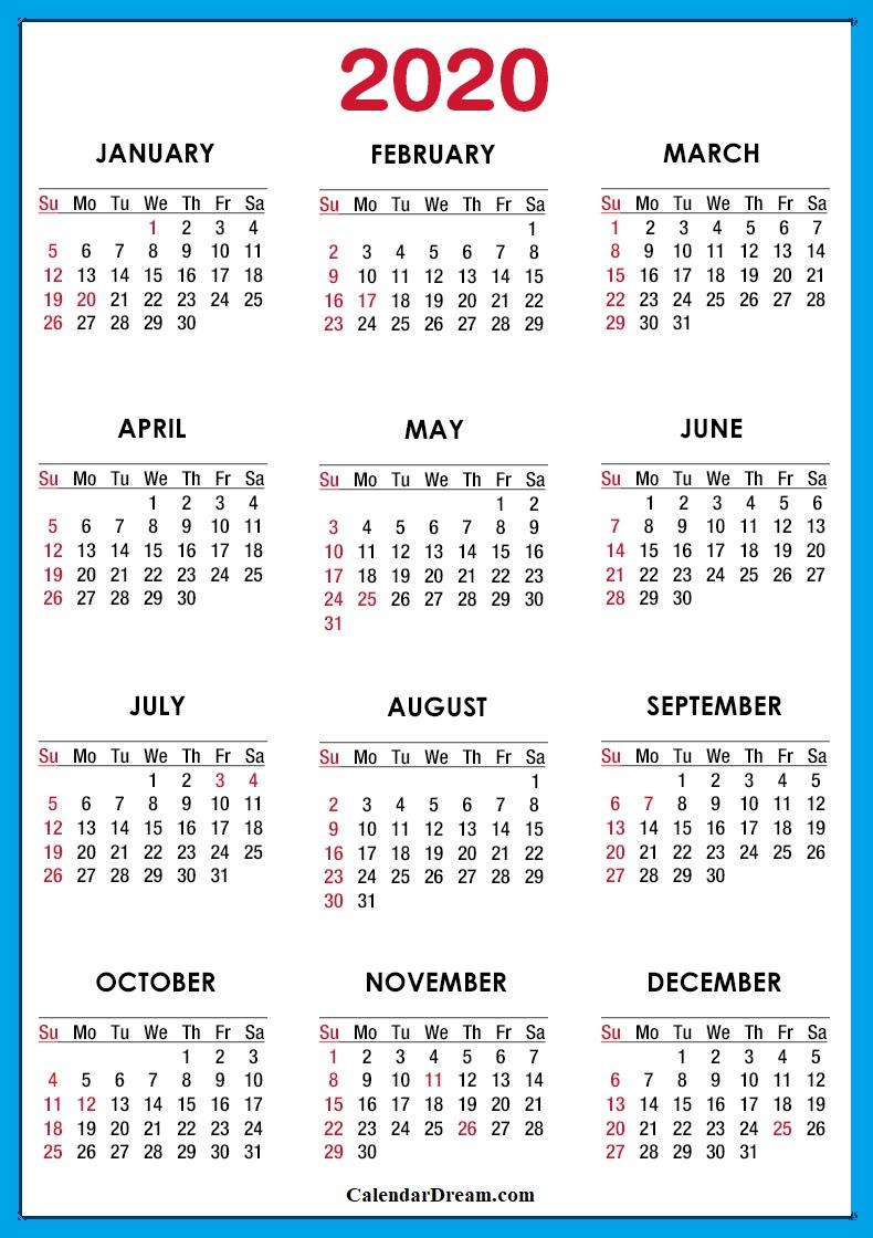 USA 2020 Calendar
