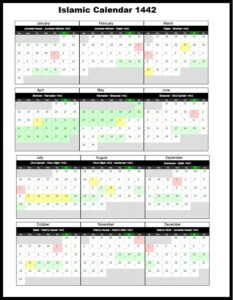Hijri Calendar 1442