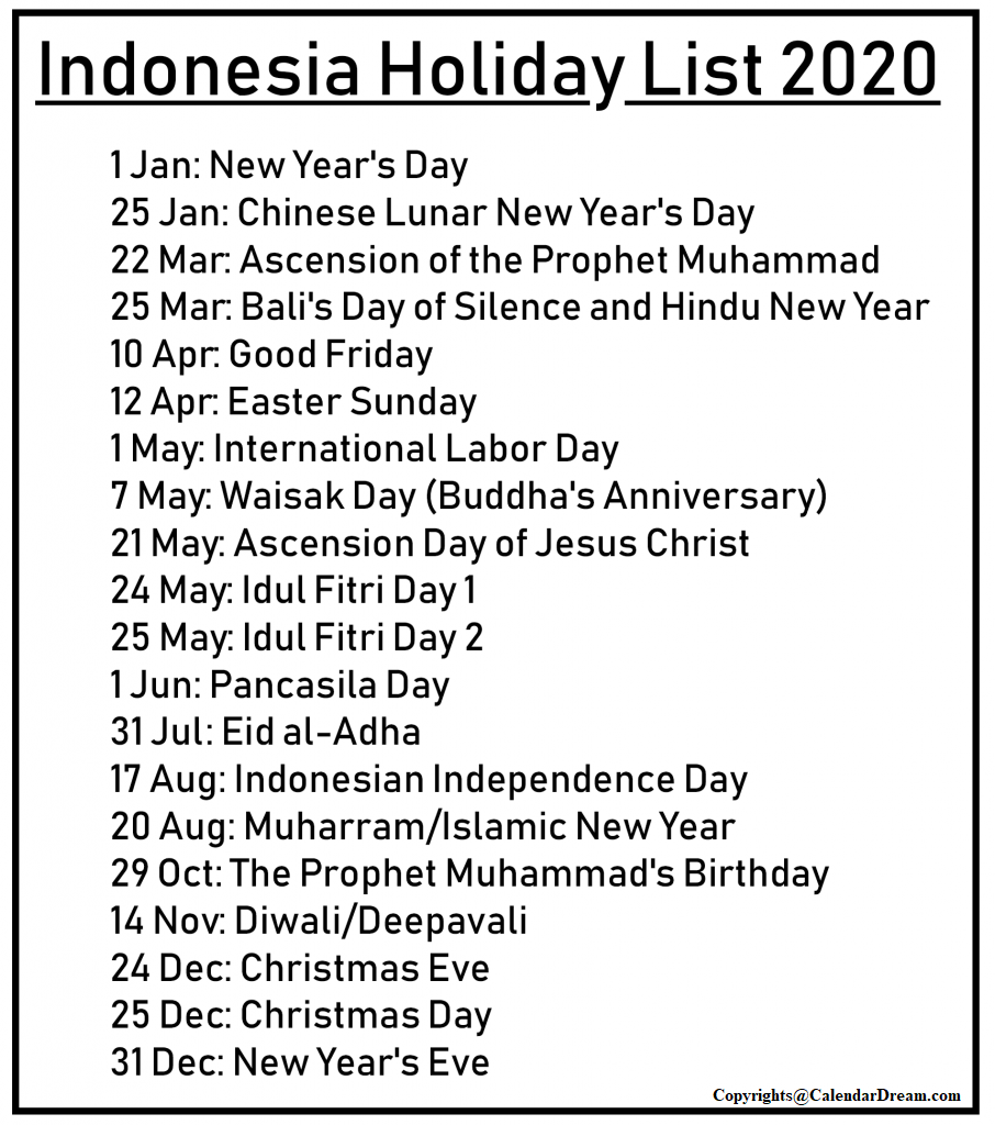 Public Holidays in Indonesia 2020