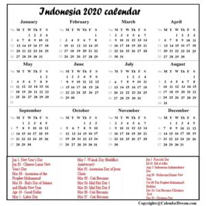 Printable Calendar 2020 with Indonesia Holidays