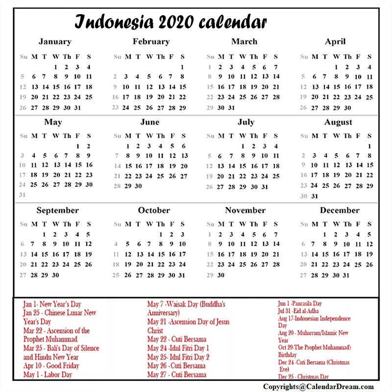 Printable Calendar 2020 with Indonesia Holidays