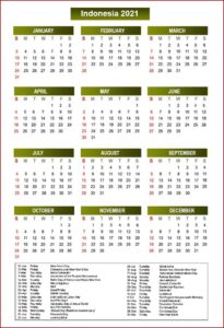 Indonesia Calendar 2021