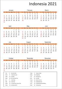 Indonesia 2021 Printable Calendar