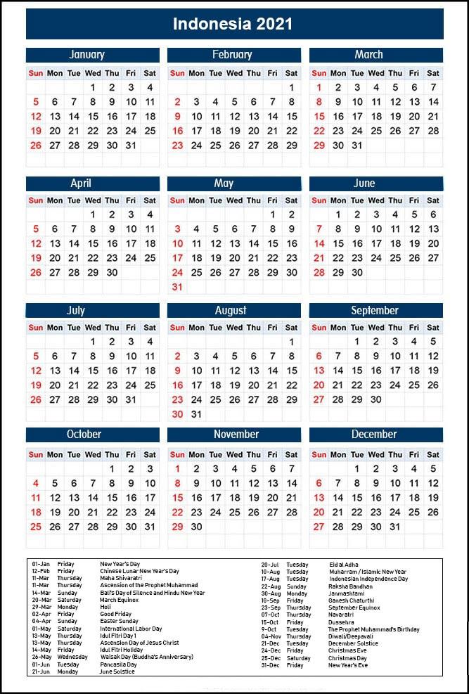 Indonesia Calendar 2021 Printable