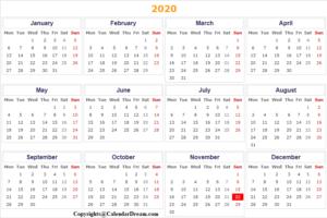 Indonesia 2020 Printable Calendar