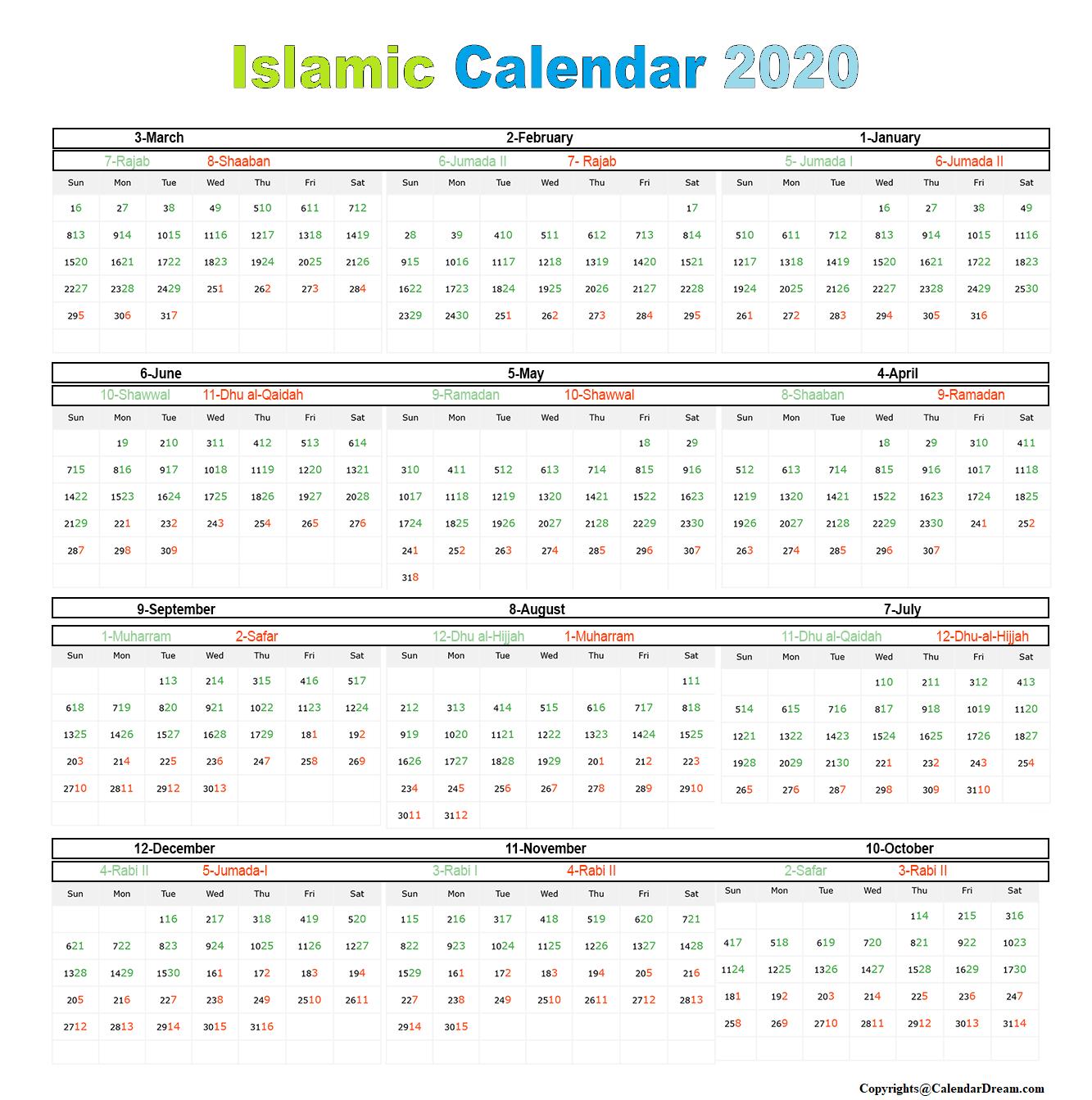 Islamic 2020 Calendar