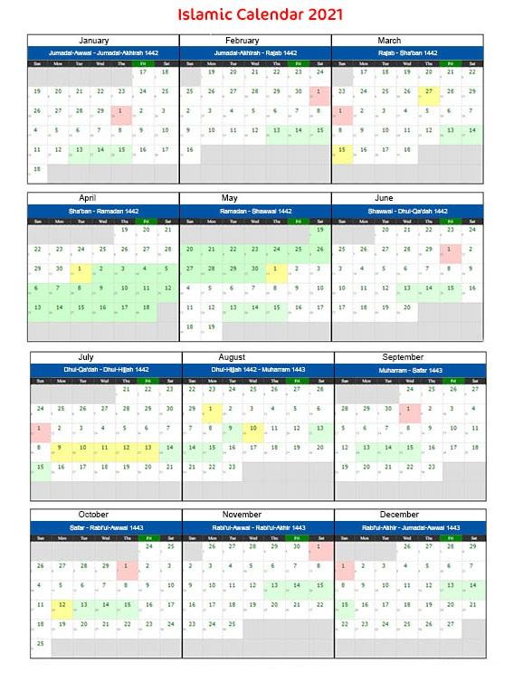 Islamic Calendar 2021 Saudi Arabia