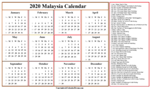 Malaysia Calendar 2020