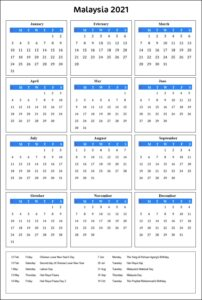 Malaysia 2021 Calendar