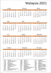 Malaysia 2021 Printable Calendar