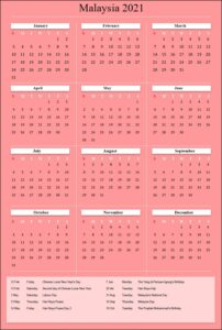 Malaysia 2021 Calendar Printable