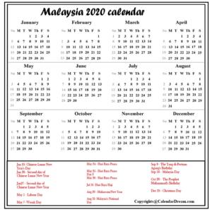 Malaysia 2020 Calendar Printable