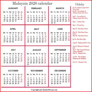 Malaysia 2020 Printable Calendar