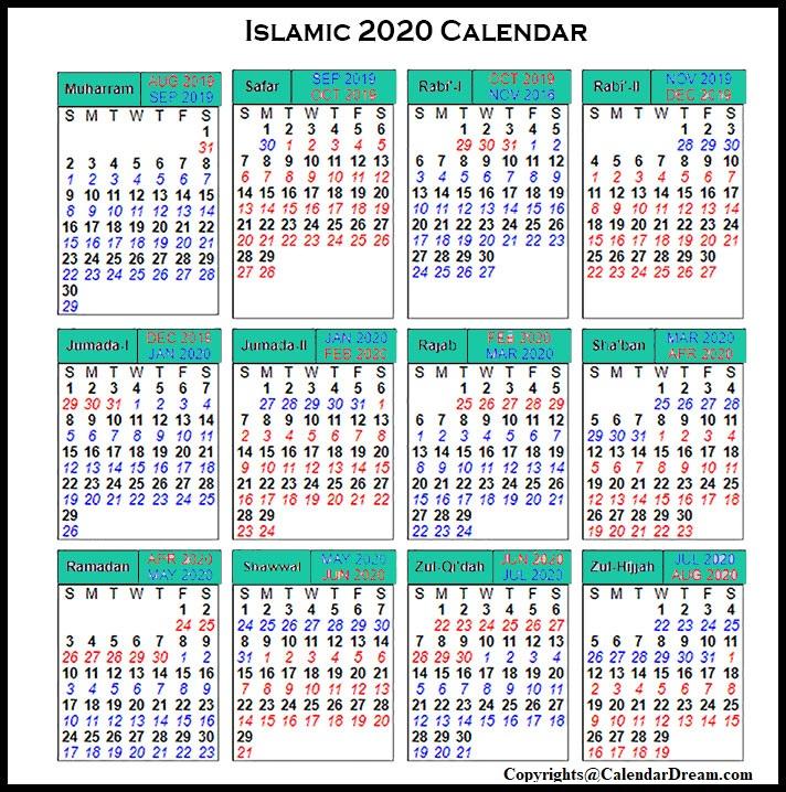 Muslim Calendar 2020
