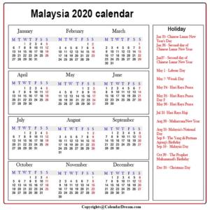 Printable Calendar 2020 with Malaysia Holidays