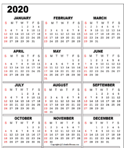 Printable 2020 Monthly Calendar