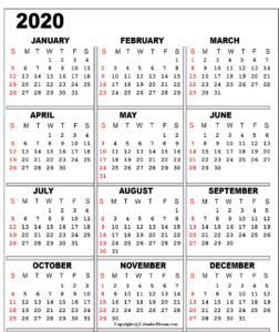 Printable 2020 Monthly Calendar