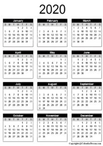 Yearly 2020 Printable Calendar