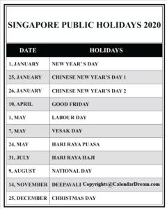 Printable Calendar 2020 with Singapore Holidays
