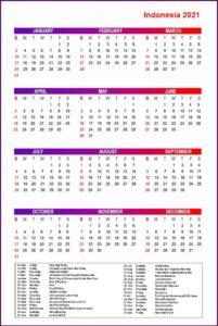 Printable Calendar 2021 with Indonesia Holidays