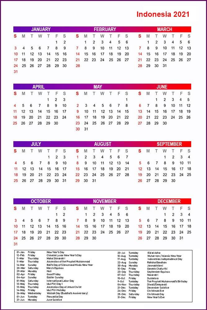 Printable Indonesia 2021 Calendar With Holidays Pdf Calendar Dream