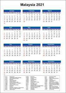Printable Calendar 2021 with Malaysia Holidays