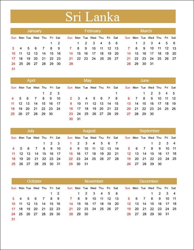 Printable Calendar 2021 with Sri Lanka Holidays