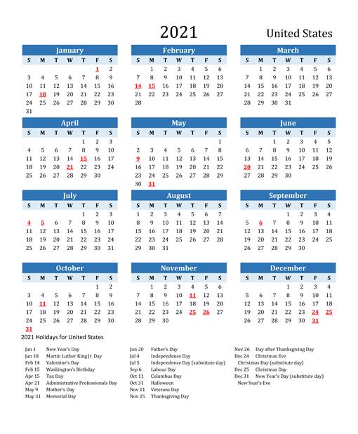 Printable Calendar 2021 with USA Holidays