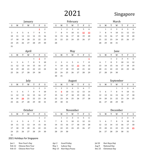 Public Holidays In Singapore 2021