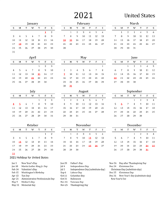 Public Holidays In USA 2021