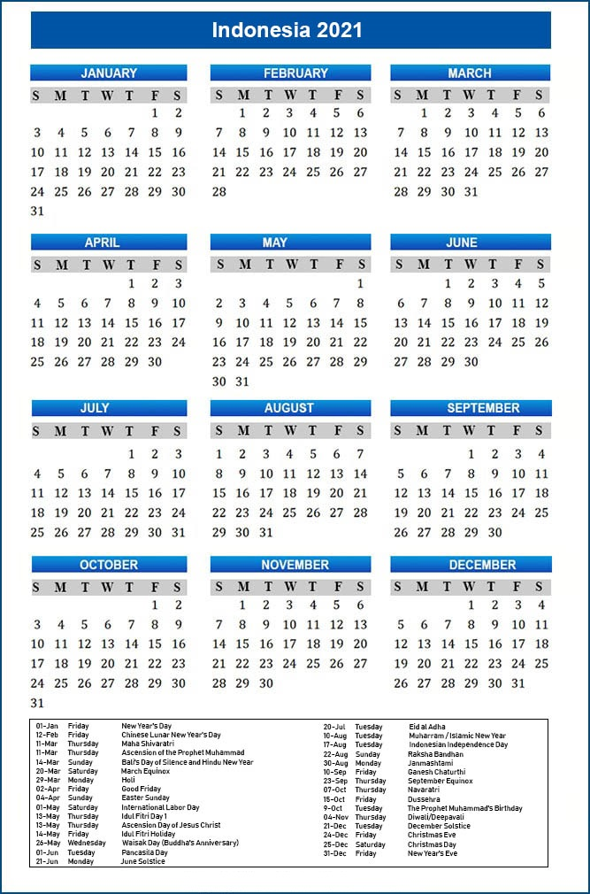 Public Holidays in Indonesia 2021