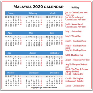 Public Holidays in Malaysia 2020