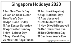 Public Holidays Calendar in Singapore 2020