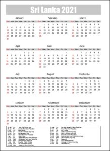 Public Holidays in Sri Lanka 2021