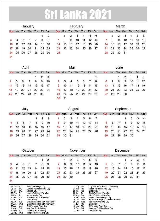 Public Holidays in Sri Lanka 2021