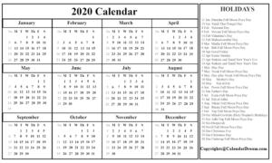 Singapore 2020 Printable Calendar