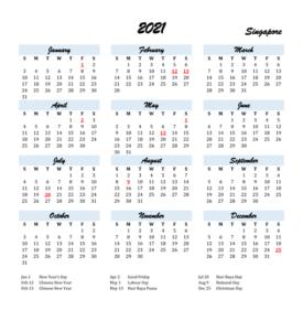 Singapore 2021 Calendar Template