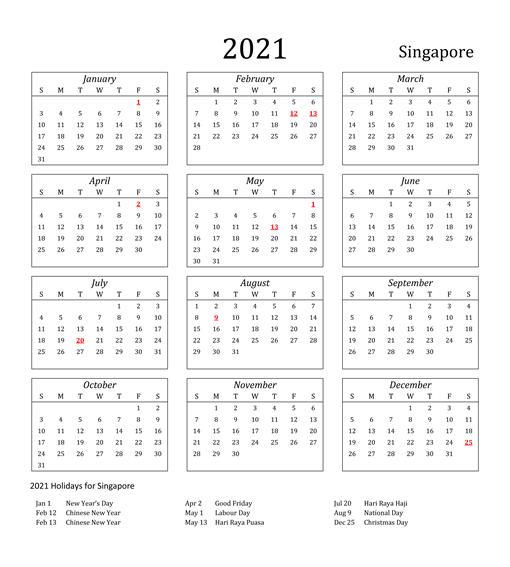 Singapore 2021 Printable Calendar
