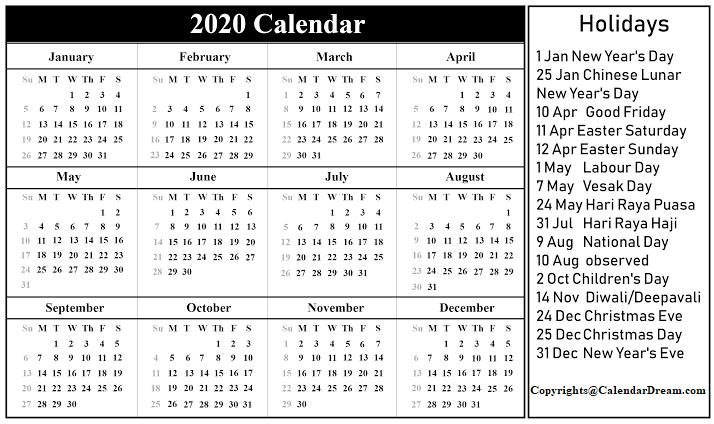 Singapore 2020 Calendar Template