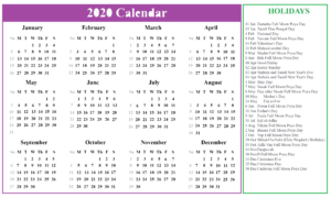 Sri Lanka Calendar 2020 Printable