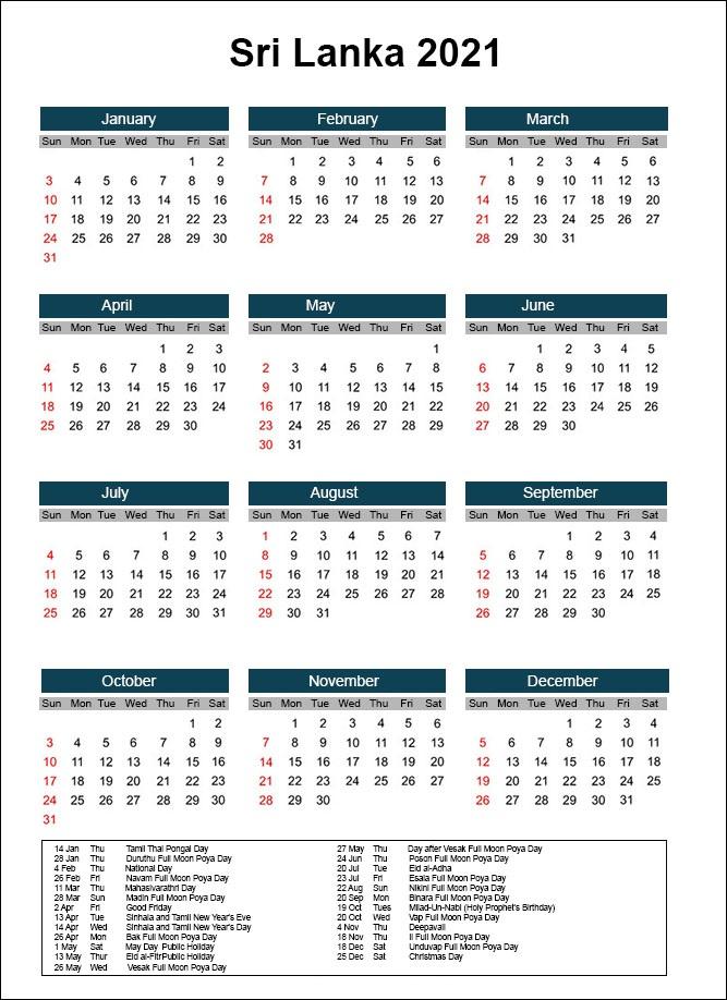 Sri Lanka Calendar 2021 Printable