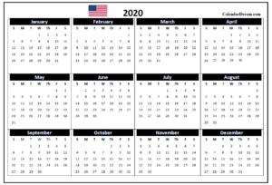 USA 2020 Printable Calendar