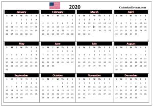 USA Calendar 2020 Printable