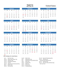 USA 2021 Calendar
