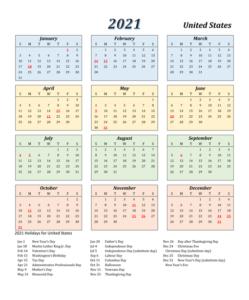USA 2021 Calendar Template