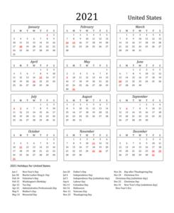 USA 2021 Printable Calendar
