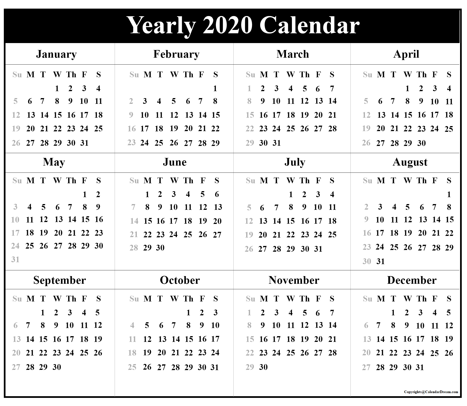 2020 Yearly Calendar Template