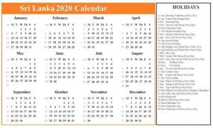 Printable Calendar 2020 with Sri Lanka Holidays