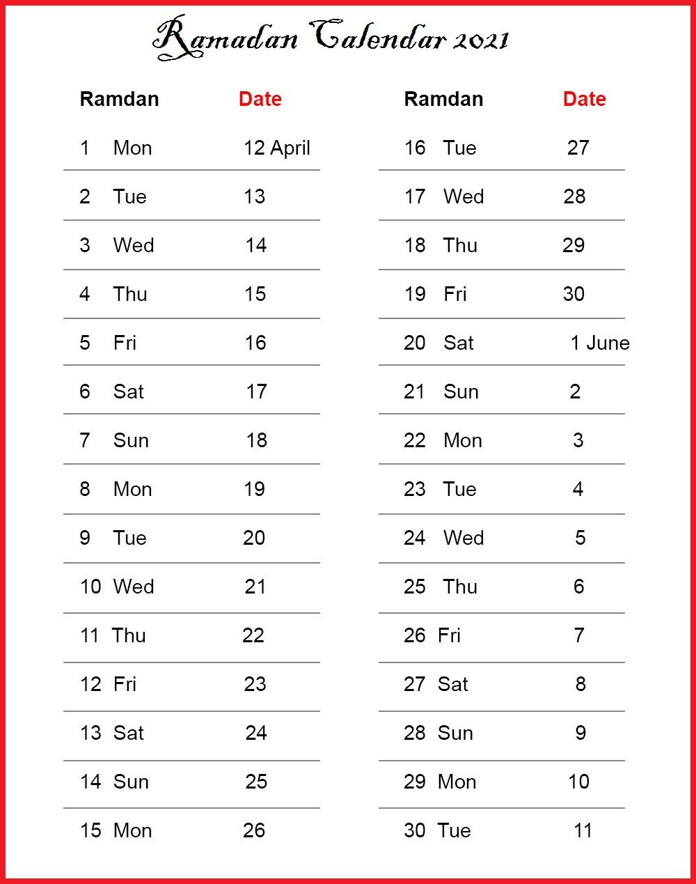 Ramadan Calendar 2022.Printable 2021 Ramadan Calendar With Prayer Times Ramzan 1442 Calendar Dream